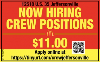 Now Hiring Crew Positions