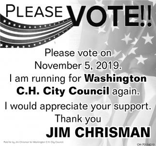 Jim Chrisman for Washington C.H. City Council