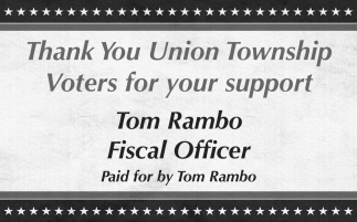 Thank You Union Township Voters for your support