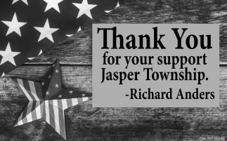 Thank You for your support Jasper Township