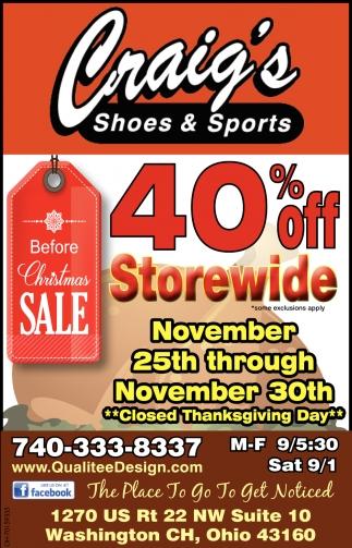 40% off - Storewide