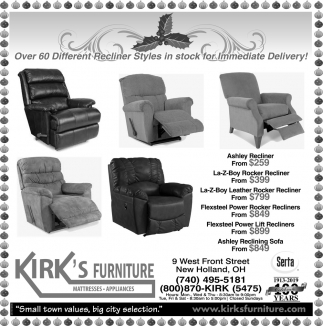 Over 60 Different Recliner Styles in stock for Immediate Delivery!