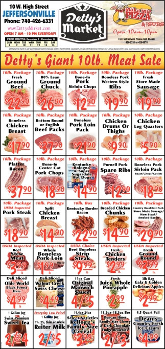 Detty's Giant 10lb Meat Sale