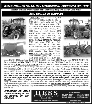 Consignment Equipment Auction - Dec. 28