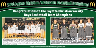 Congratulations to the Fayette Christian Varsity Boys Basketball Team Champions