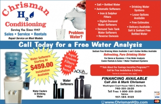 Call Today For A Free Water Analysis