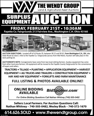 Surplus Equipment Auction - February 21st