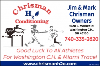 Good Luck To All Athletes For Washington C.H. & Miami Trace!