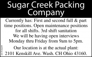 First and Second Full & Part Time Positions
