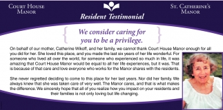 Resident Testimonial