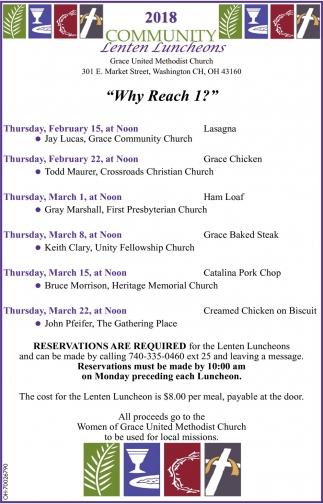 2018 Community Lenten Luncheons