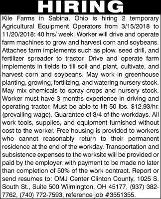 Agricultural Equipment Operators