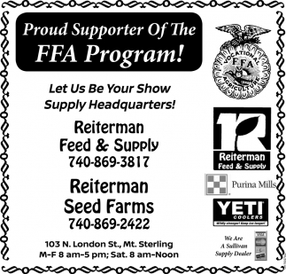 Proud Supporter Of The FFA Program!