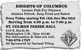 Lenten Fish Fry Dinners