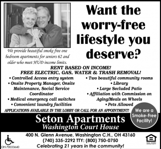 1 Bedroom apartments for seniors 62 and older