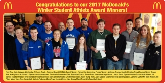 Congratulations to our 2017 McDonald's Winter Student Athlete Award Winners!