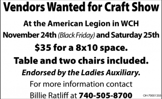 Vendors wanted for craft show american legion post 25 for Vendors wanted for craft shows 2017