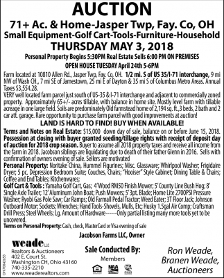 Small Equipment, Golf Cart, Tools, Furniture, Household