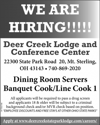 Dining Room Servers, Banquet Cook, Line Cook