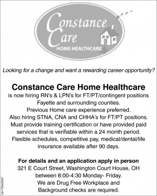 Rns Lpns Constance Care Home Healthcare