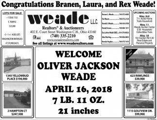Congratulations Branen, Laura, and Rex Weade!