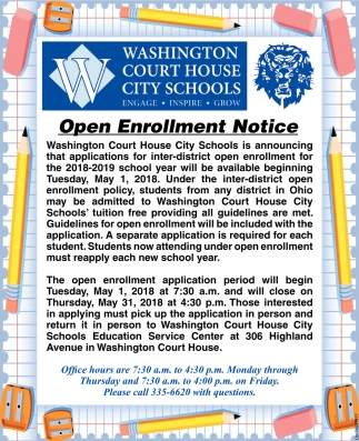 Open Enrollment Notice, Washington Court House City Schools, Washington  Court House, OH