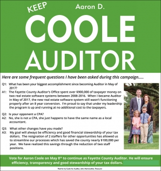 Keep Aaron D. Coole Auditor